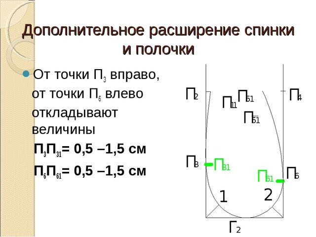 Дополнительное расширение спинки и полочки От точки П3 вправо, от точки П6 вл...