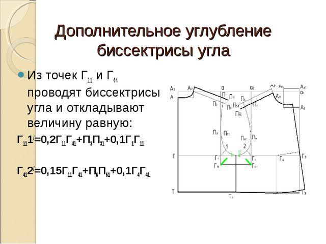 Дополнительное углубление биссектрисы угла Из точек Г11 и Г44 проводят биссек...