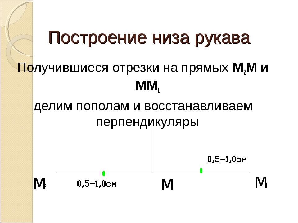 Построение низа рукава Получившиеся отрезки на прямых М2М и ММ1 делим пополам...