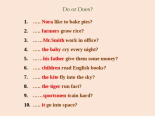 Do or Does? ….. Nora like to bake pies? ….. farmers grow rice? ……Mr.Smith wor