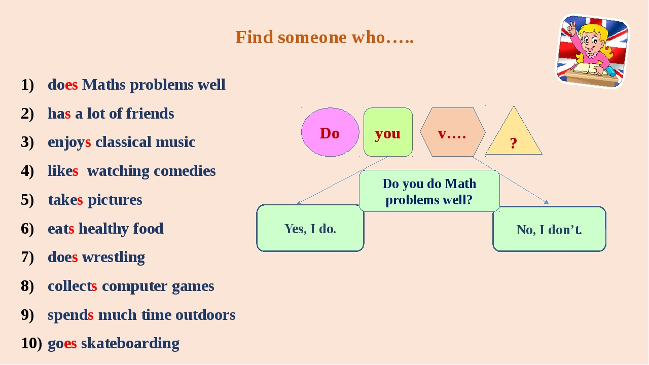 Find someone who….. does Maths problems well has a lot of friends enjoys clas...