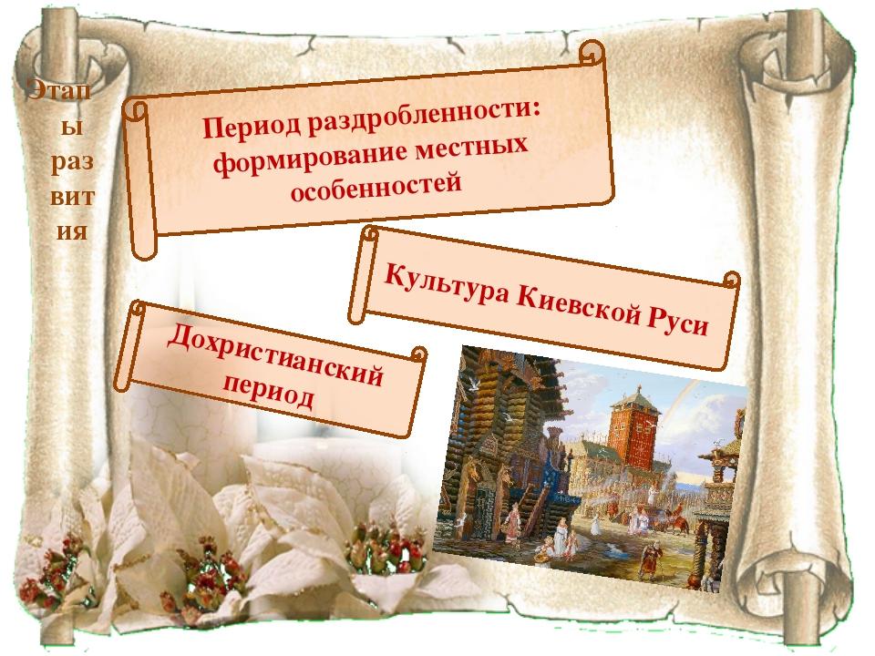Этапы развития Культура Киевской Руси Период раздробленности: формирование ме...