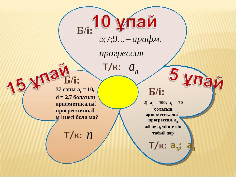 Б/і: 37 саны a1 = 10, d = 2,7 болатын арифметикалық прогрессияның мүшесі бола...