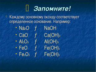 Запомните! Каждому основному оксиду соответствует определенное основание. На