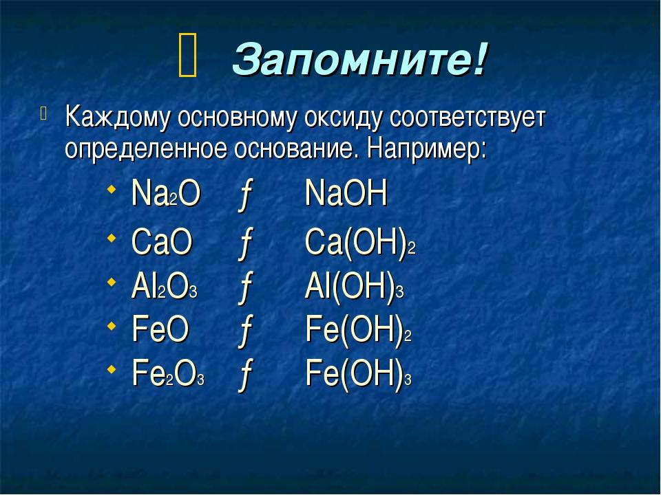 Запомните! Каждому основному оксиду соответствует определенное основание. На...