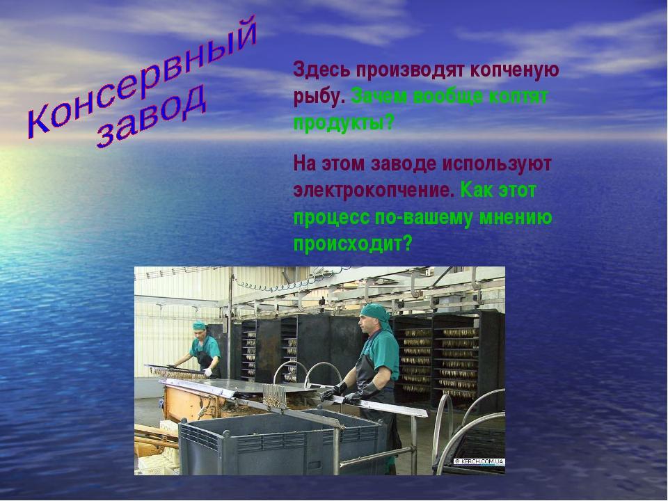 Здесь производят копченую рыбу. Зачем вообще коптят продукты? На этом заводе...