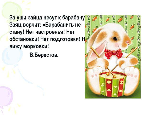 За уши зайца несут к барабану. Заяц ворчит: «Барабанить не стану! Нет настрое...