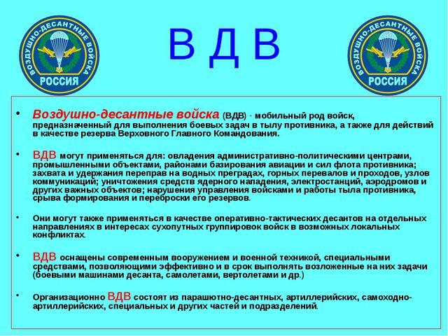 В Д В  Воздушно-десантные войска (ВДВ) - мобильный род войск, предназначенн...
