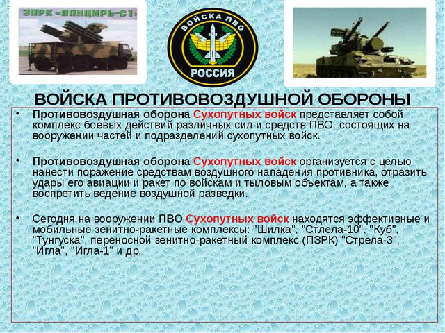 ВОЙСКА ПРОТИВОВОЗДУШНОЙ ОБОРОНЫ Противовоздушная оборона Сухопутных войск пр...