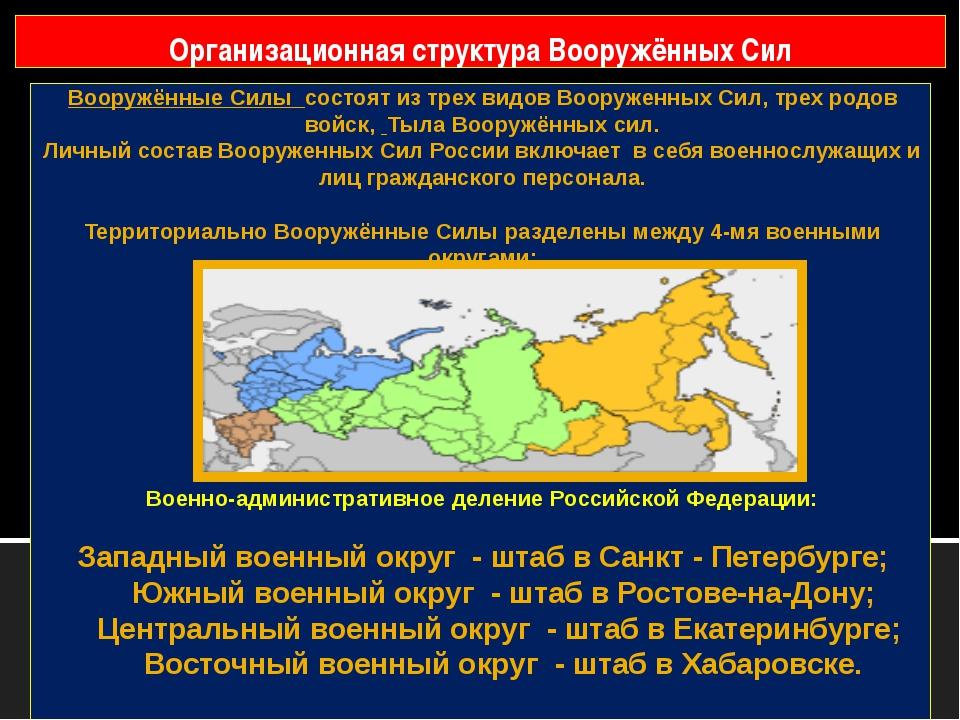 Вооружённые Силы состоят из трех видов Вооруженных Сил, трех родов войск, Тыл...