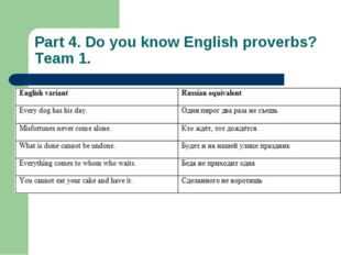 Part 4. Do you know English proverbs? Team 1.