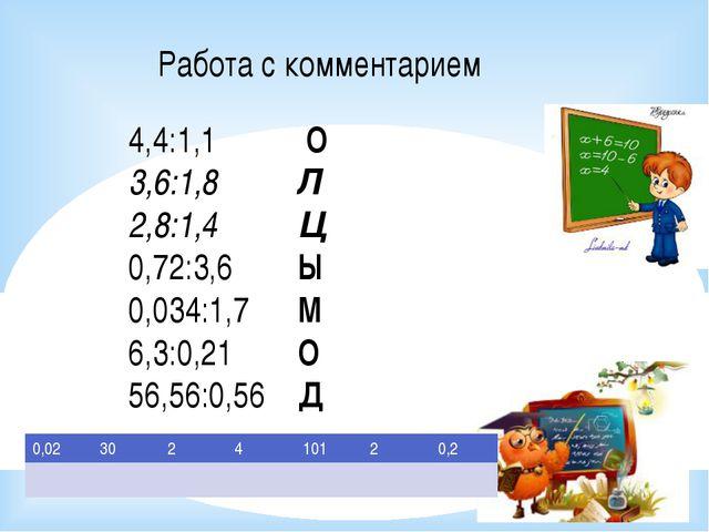 4,4:1,1 О 3,6:1,8 Л 2,8:1,4 Ц 0,72:3,6 Ы 0,034:1,7 М 6,3:0,21 О 56,56:0,56 Д...
