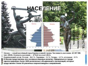 НАСЕЛЕНИЕ Москва — самый населённый городЕвропы и нашей страны. Численность