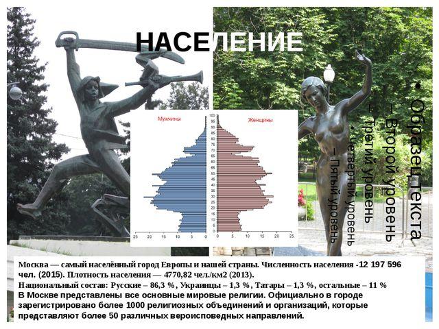 НАСЕЛЕНИЕ Москва — самый населённый городЕвропы и нашей страны. Численность...