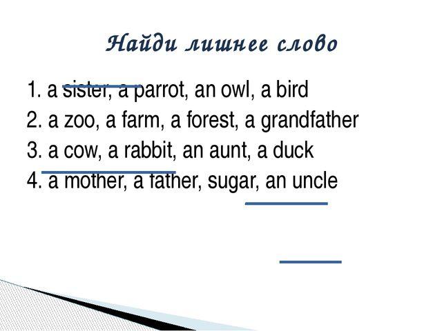 1. a sister, a parrot, an owl, a bird 2. a zoo, a farm, a forest, a grandfath...