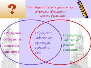 Что общего в английских и русских формулах обращения? Чем они различны? Обращ