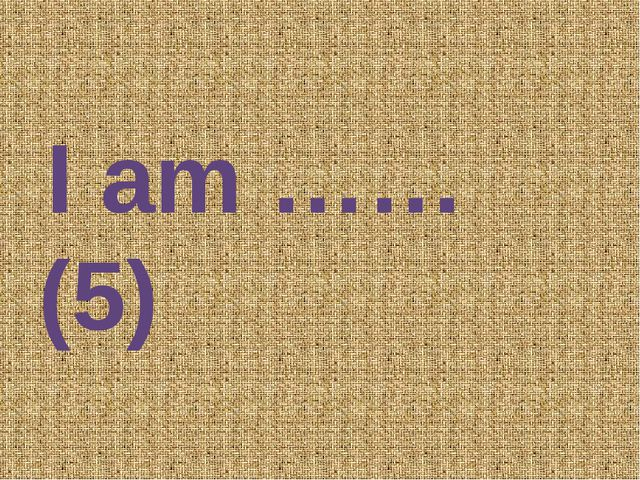 I am …… (5)