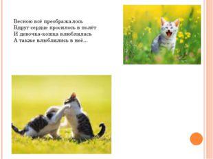 Весною всё преображалось Вдруг сердце просилось в полёт И девочка-кошка влюбл