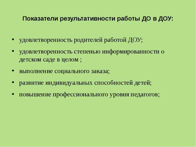 Показатели результативности работы ДО в ДОУ: удовлетворенность родителей рабо...