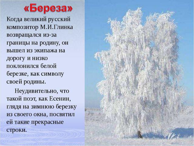 Когда великий русский композитор М.И.Глинка возвращался из-за границы на роди...
