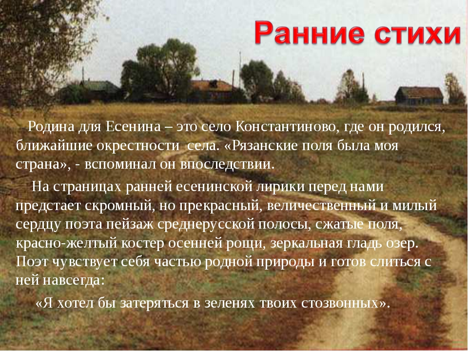 Родина для Есенина – это село Константиново, где он родился, ближайшие окрес...