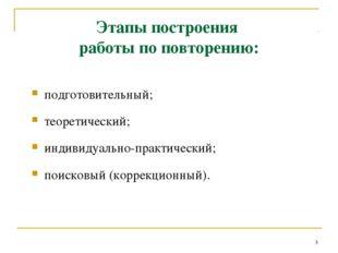 подготовительный; теоретический; индивидуально-практический; поисковый (корре