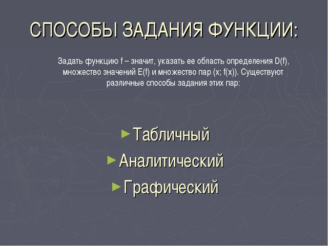СПОСОБЫ ЗАДАНИЯ ФУНКЦИИ: Табличный Аналитический Графический Задать функцию f...