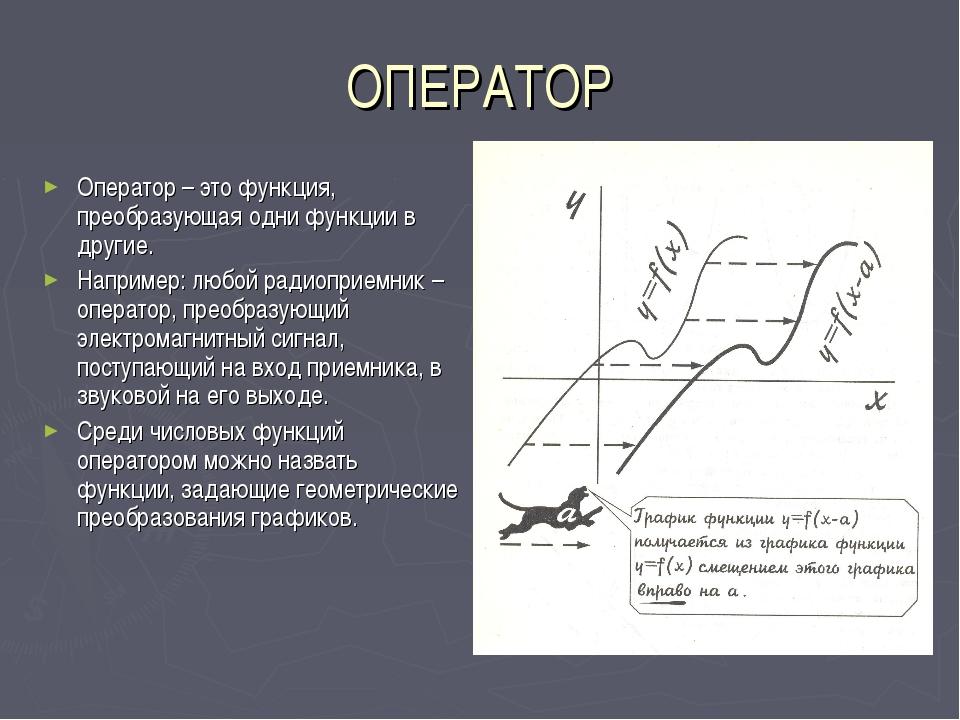 ОПЕРАТОР Оператор – это функция, преобразующая одни функции в другие. Наприме...