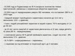 - В 2005 году в Подмосковье на 45 % возросло количество тяжких преступлений,