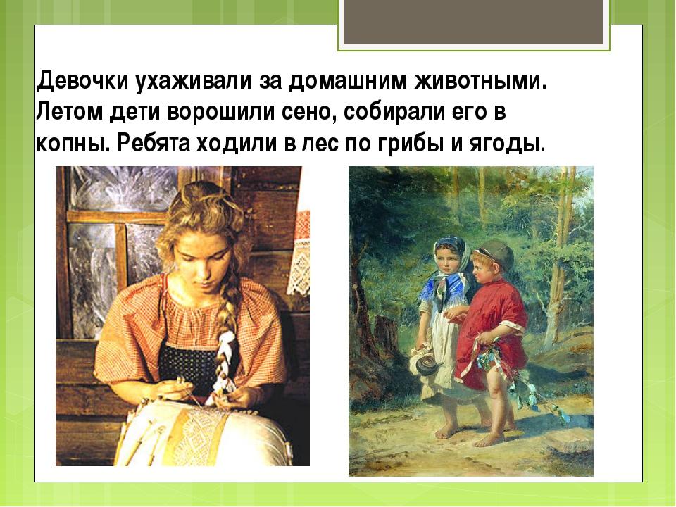 Девочки ухаживали за домашним животными. Летом дети ворошили сено, собирали е...