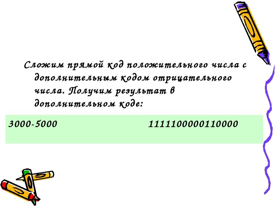 Сложим прямой код положительного числа с дополнительным кодом отрицательного...