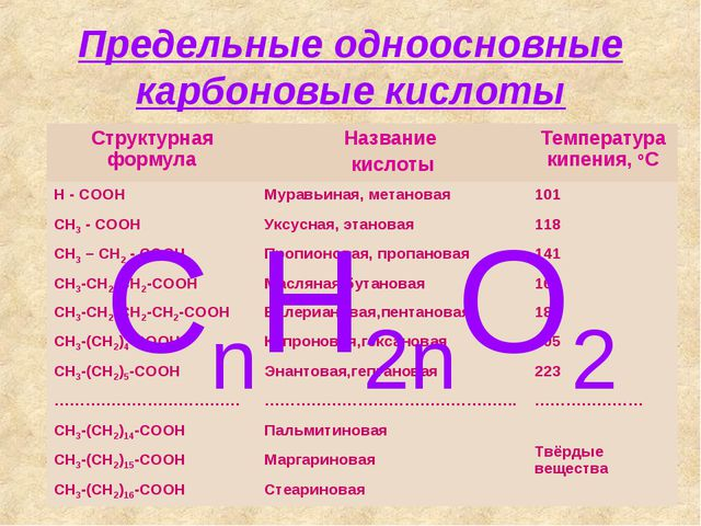 Предельные одноосновные карбоновые кислоты CnH2nO2