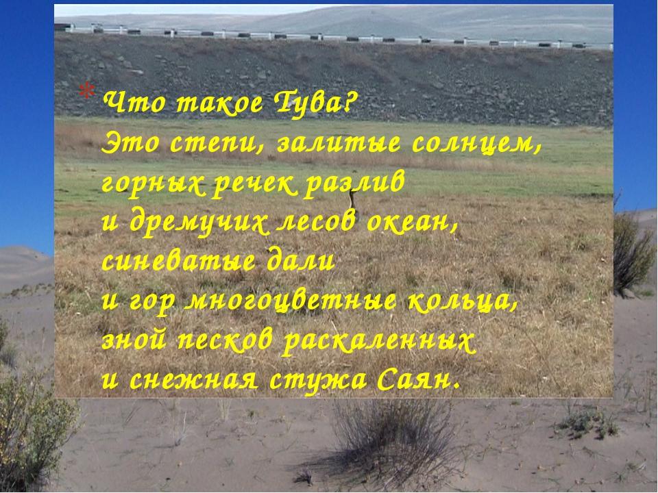Что такое Тува? Это степи, залитые солнцем, горных речек разлив и дремучих ле...