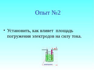 Опыт №2 Установить, как влияет площадь погружения электродов на силу тока.