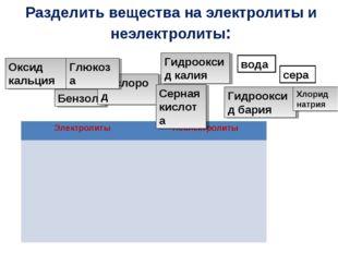 Разделить вещества на электролиты и неэлектролиты: Оксид кальция Бензол Кисло