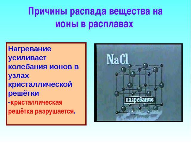 Причины распада вещества на ионы в расплавах Нагревание усиливает колебания и...