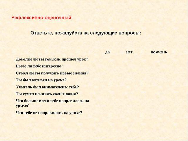 Рефлексивно-оценочный Ответьте, пожалуйста на следующие вопросы:  да нет н...