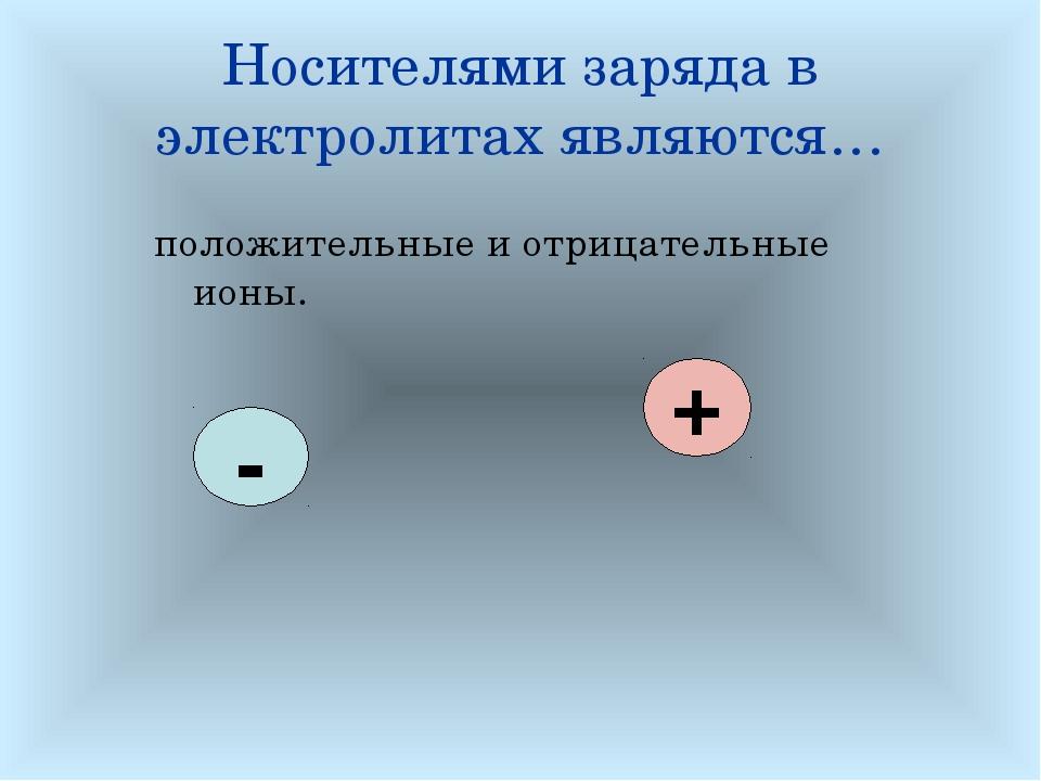 Носителями заряда в электролитах являются… положительные и отрицательные ионы...