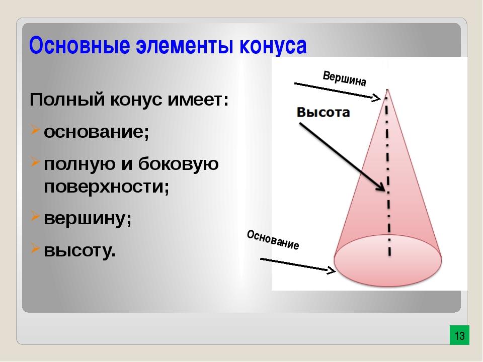 Основные элементы конуса Полный конус имеет: основание; полную и боковую пове...