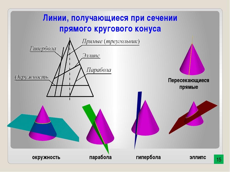 эллипс окружность парабола гипербола Пересекающиеся прямые Линии, получающиес...