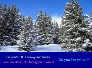 It is winter. It is snowy and frosty. We can skate, ski, toboggan in winter.
