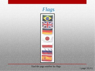 Flags Find the page number for flags ( page 10,11)