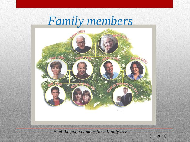 Family members Find the page number for a family tree ( page 6)