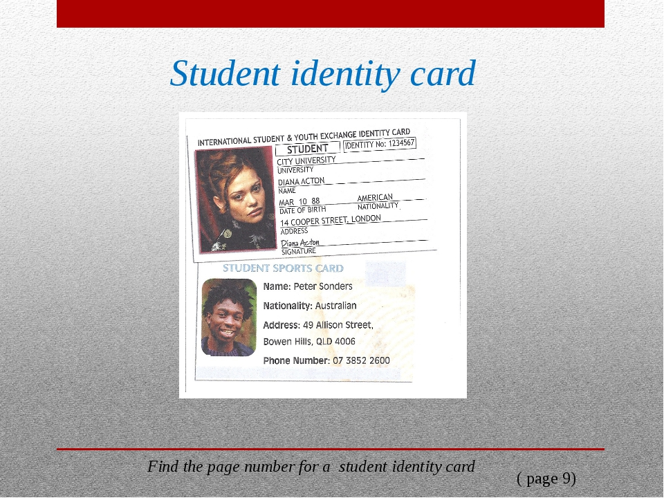 Student identity card Find the page number for a student identity card ( page...