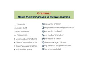 Grammar Match the word groups in the two columns 1 2 3 4 5 6 7 8 a b c d e f