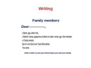 Writing Family members Dear--------------, Write a letter to your pen friend