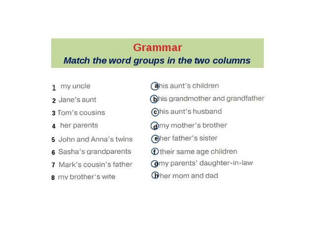 Grammar Match the word groups in the two columns 1 2 3 4 5 6 7 8 a b c d e f...