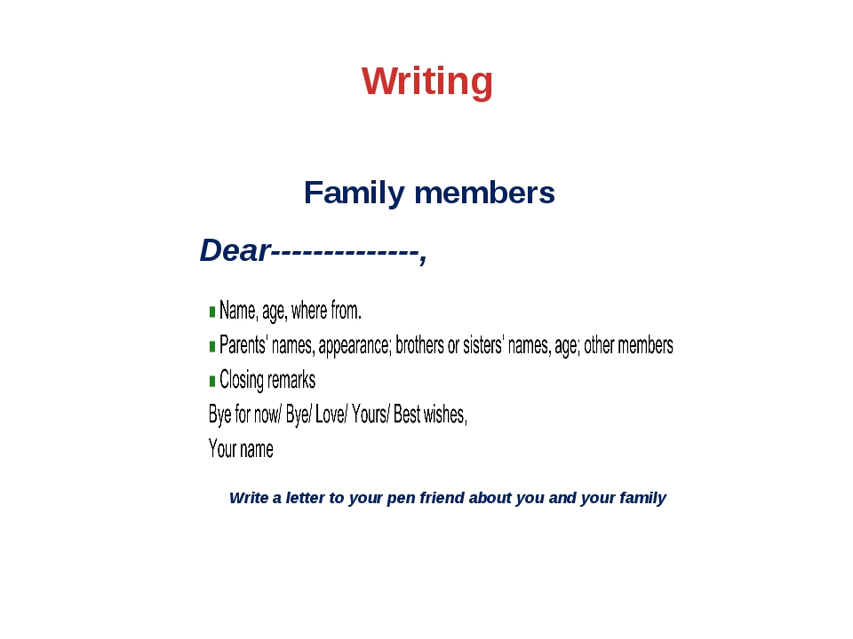 Writing Family members Dear--------------, Write a letter to your pen friend...
