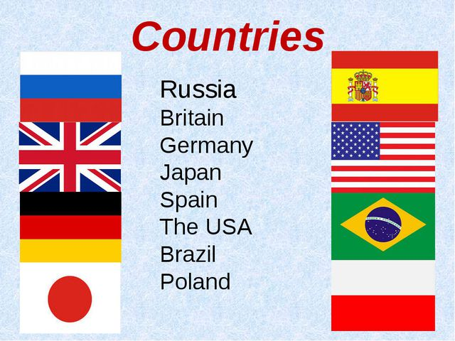 Countries Russia Britain Germany Japan Spain The USA Brazil Poland