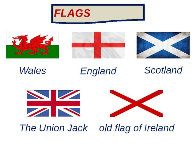 Wales England Scotland The Union Jack old flag of Ireland FLAGS